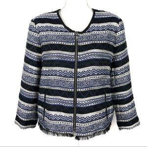 Ann Taylor Loft Aztec Fringe Zip-up Jacket Size 16